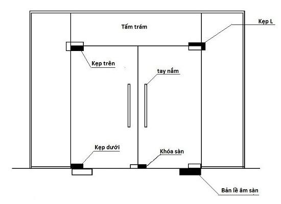 giá cửa kính cường lực bản lề sàn 2
