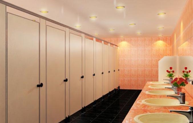 vách ngăn compact trong nhà vệ sinh